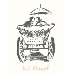 drawn bride groom carriage sketch vector image
