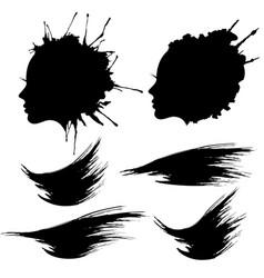female head profile ink blot set vector image vector image