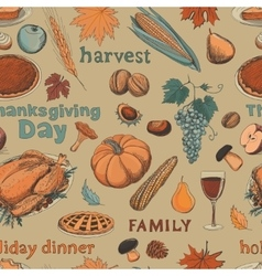 Hand drawn seamless pattern thanksgiving vector image vector image