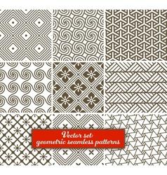 set 9 geometric seamless patterns vector image vector image
