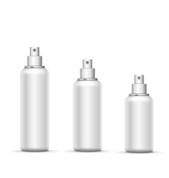 empty white metal spray bottle with cap set vector image