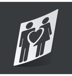 Monochrome love couple sticker vector image