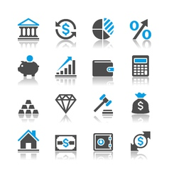 Financial investment icons reflection vector