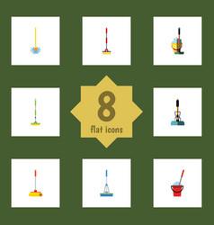 flat icon broomstick set of bucket equipment vector image