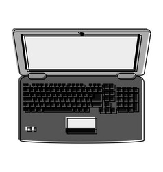 laptop computer with blank screen topview ico vector image