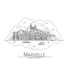 line art Marseille France travel icon vector image vector image