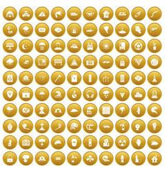 100 disaster icons set gold vector