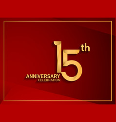 15 anniversary celebration logotype golden color vector