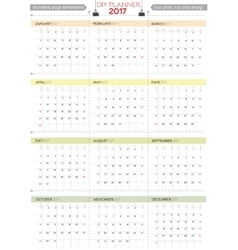 2017 DIY Calendar Planner Design Week starts from vector image