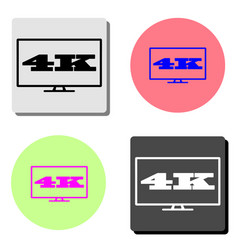4k tv screen flat icon vector image