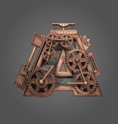 a rusted letter with gears vector image