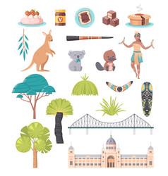 australia national symbols cartoon set vector image
