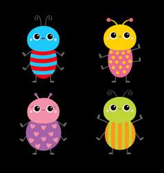 Beetle bug set insect animal cute cartoon kawaii vector