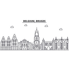 Belgium bruges architecture line skyline vector