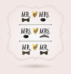 black and golden abstract conceptual mr and mrs vector image