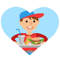 Boy carries a tray of food vector