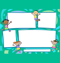 brochure backgrounds with cartoon children vector image