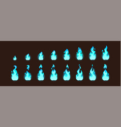 burning blue fire for 2d animation or video game vector image