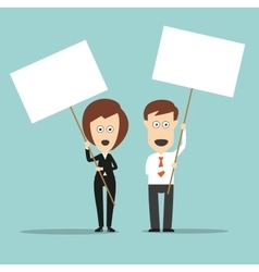 Business colleagues holding sign boards with vector