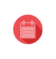 calendar line icon outline with shadow vector image