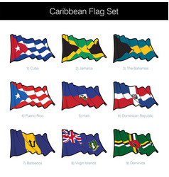 Caribbean waving flag set vector