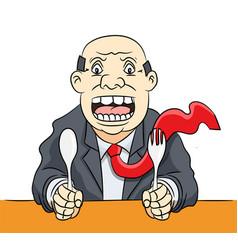 cartoon businessman waiting food- clipart vector image