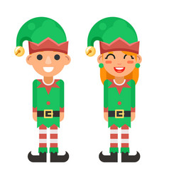 cartoon flat design elf boy and girl characters vector image