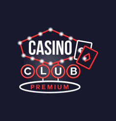Casino premium club retro neon sign vintage vector