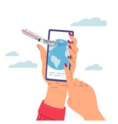 choosing tour app female hands holding vector image