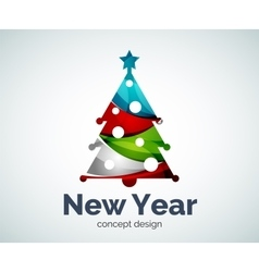 Christmas or New Year tree logo template vector