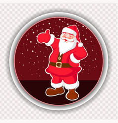 Christmas red round sign with a picture of santa vector