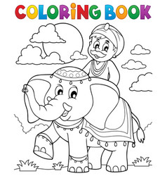 Coloring book man travelling on elephant vector