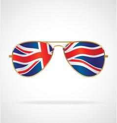 cool aviator sunglasses with uk flag union jack vector image
