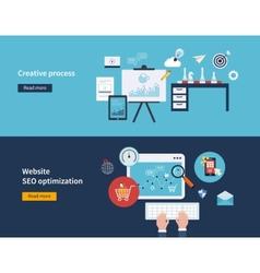 Creative process and SEO vector image