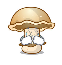 Crying portobello mushroom mascot cartoon vector