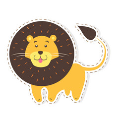 cute lion cartoon flat sticker or icon vector image