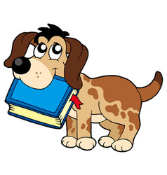 Dog holding book vector