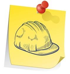 doodle sticky note saftey hat vector image