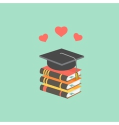 Education concept with mortarboard and books vector image