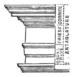 Entablanture columns vintage engraving vector
