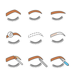 Eyebrows shaping color icons set vector