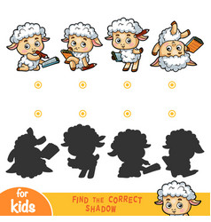 find correct shadow for children sheep set vector image