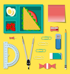 Flat set of stationery with lunch box vector