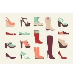 Flat women shoes vector