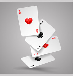 Four aces playing cards fly or fall vector