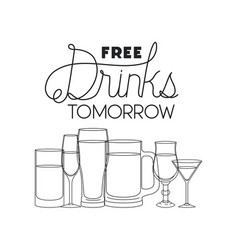 free drinks set icons vector image