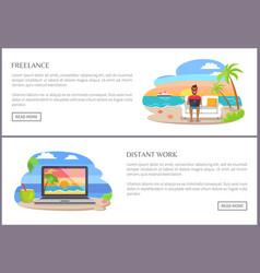 Freelance distant work set vector