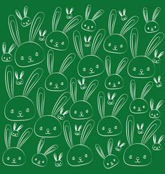 funny easter drawing holiday rabbits set vector image