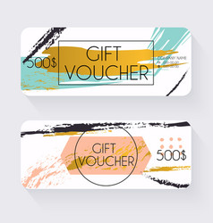 Gift voucher template with gold background Gift vector image