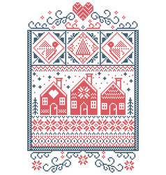 Gingerbread houses christmas pattern red and blue vector